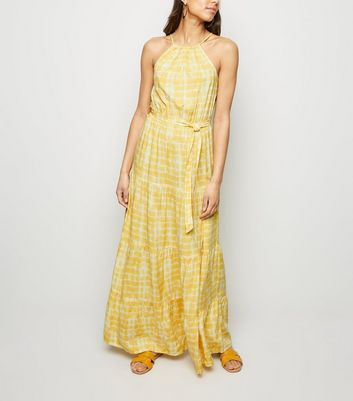 Yellow Tie Dye Halterneck Maxi Dress