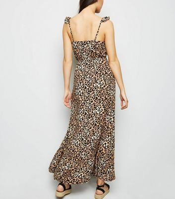shop for Brown Leopard Print Button Front Maxi Dress New Look at Shopo