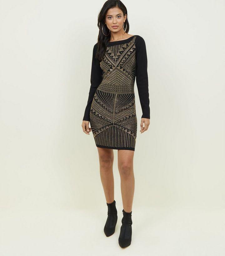 41f293e4ad Blue Vanilla Black Studded Mini Dress | New Look