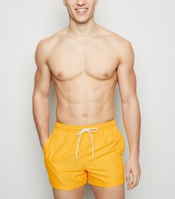 Yellow Embroidered Circle Swimming Shorts