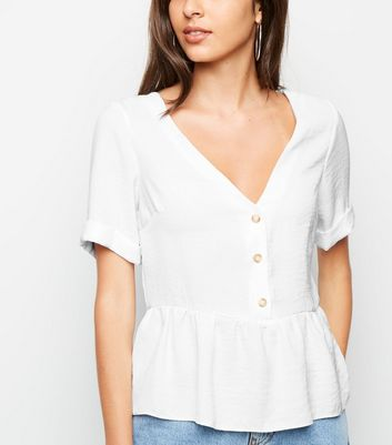 Off White Button Front Peplum Top