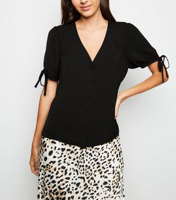 Black Button Up Puff Sleeve Blouse