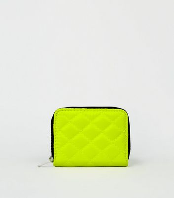 Yellow Neon Nylon Quilted Card Holder