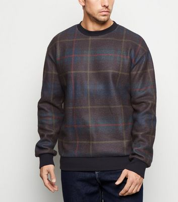 Dark Grey Check Crew Neck Sweatshirt