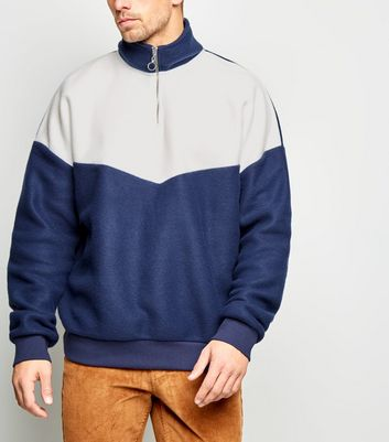 Blue Colour Block Fleece Funnel Neck Sweatshirt