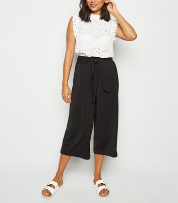 Petite Black Tie Waist Cropped Trousers