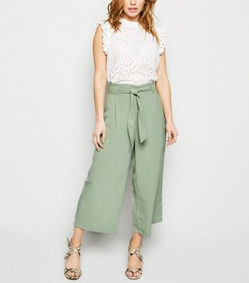 Petite Mint Green Tie Waist Cropped Trousers