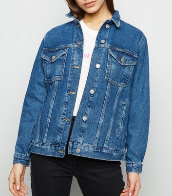 Petite Blue Oversized Denim Jacket