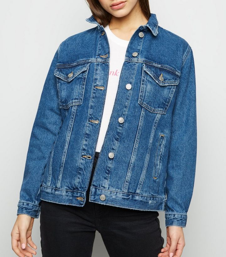 72b1c5e63 Petite Blue Oversized Denim Jacket Add to Saved Items Remove from Saved  Items