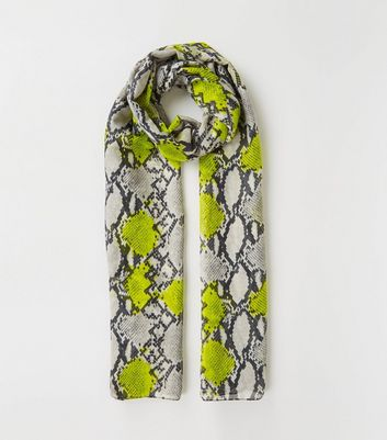 Green Neon Snake Print Scarf