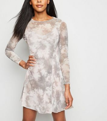 Light Grey Tie Dye Mesh Swing Dress