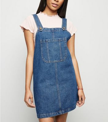 Petite Blue Pocket Front Denim Pinafore Dress
