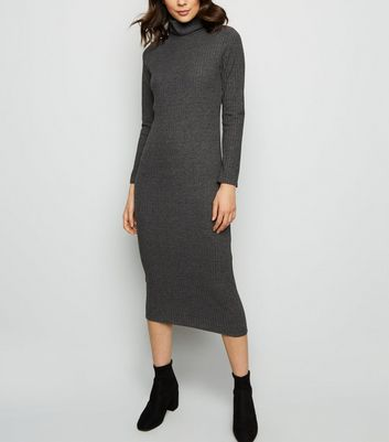 Grey Brushed Roll Neck Bodycon Mid Dress