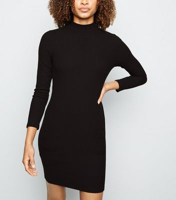 Black Brushed Rib High Neck Bodycon Dress