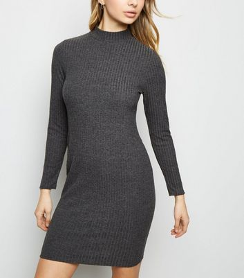 Grey Brushed Rib High Neck Bodycon Dress