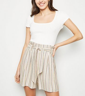 Tall Cream Multi Stripe Linen Look Paperbag Shorts