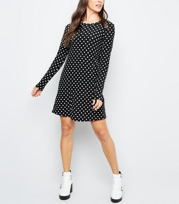 Black Spot Print Long Sleeve Tunic Dress