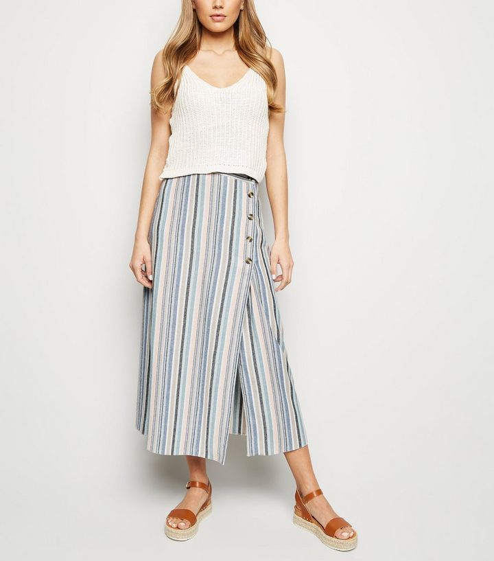 67c3cc80dce9 Tall Pink Stripe Linen-Look Button Side Midi Skirt | New Look