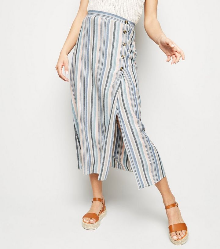 0bf6b99653b ... Tall Pink Stripe Linen Look Button Side Midi Skirt. ×. ×. ×. Shop the  look