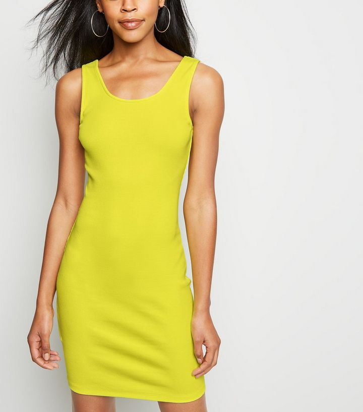 f7a6ba13297c Green Neon Ribbed Bodycon Dress