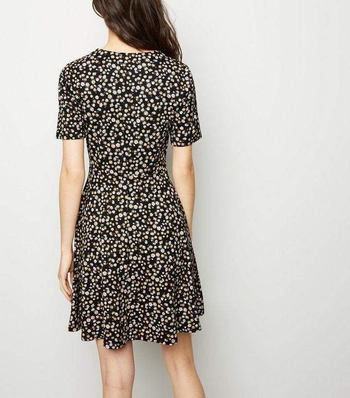249bd113151 Black Floral Soft Touch Button Up Tea Dress Add to Saved Items Remove from  Saved Items