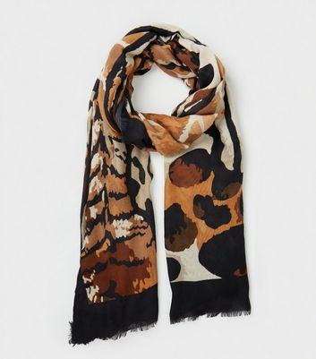 Brown Animal Print Scarf