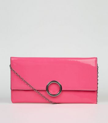 Pink Neon Patent Clutch Bag