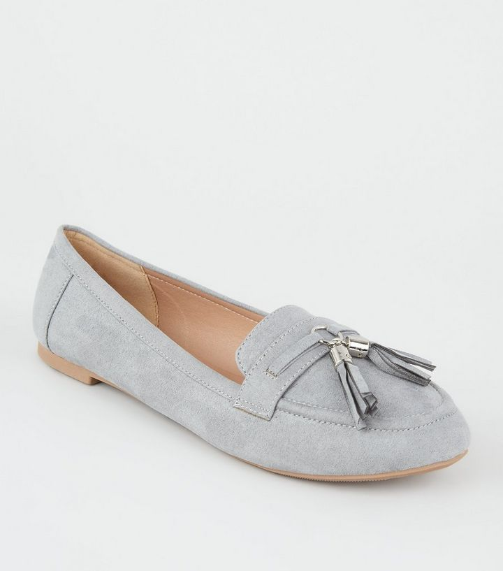1a1cf9426d8 Wide Fit Grey Suedette Tassel Trim Loafers