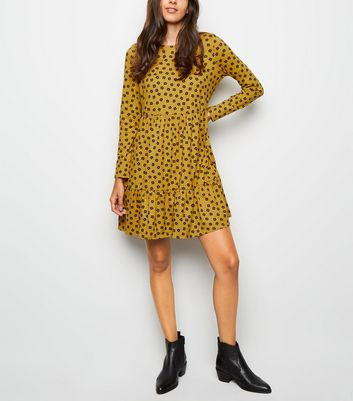 Yellow Ditsy Floral Soft Touch Smock Dress