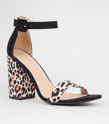 Orange Leopard Print 2 Part Block Heels