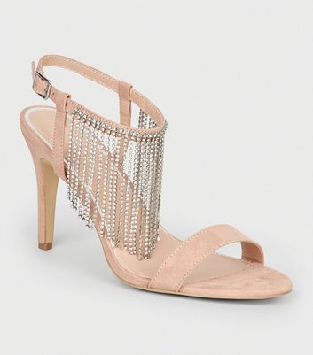 Nude Diamanté Strap Stiletto Heel Sandals