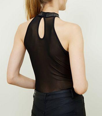 Pink Vanilla Black Studded Halter Neck Bodysuit New Look