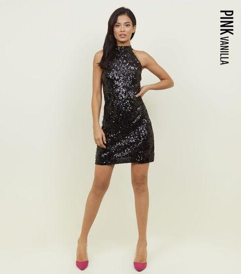 a695095babd ... Pink Vanilla Black Sequin High Neck Dress ...