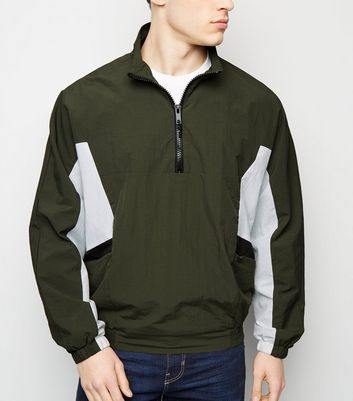 Khaki Colour Block Funnel Neck Windbreaker