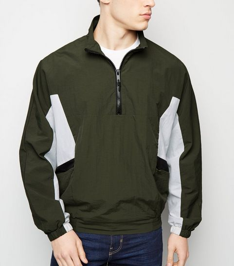 24a819318d25a ... Khaki Colour Block Funnel Neck Windbreaker ...