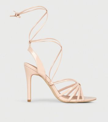 Nude Patent Ankle Tie Stiletto Heel Sandals