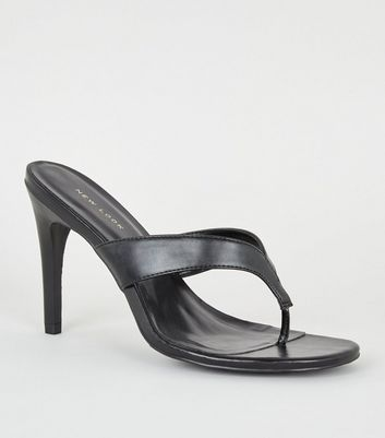 Black Toe Post Stiletto Heels by New Look