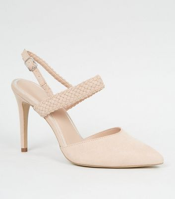 Nude Woven Strap 2 Part Court Shoes