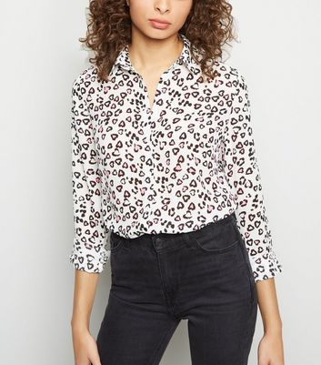 White Heart Animal Print Chiffon Shirt