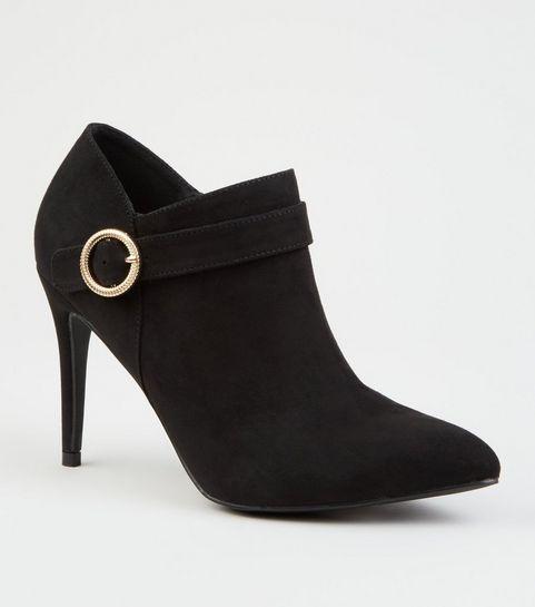 891c9f1202c ... Black Suedette Side Buckle Shoe Boots ...