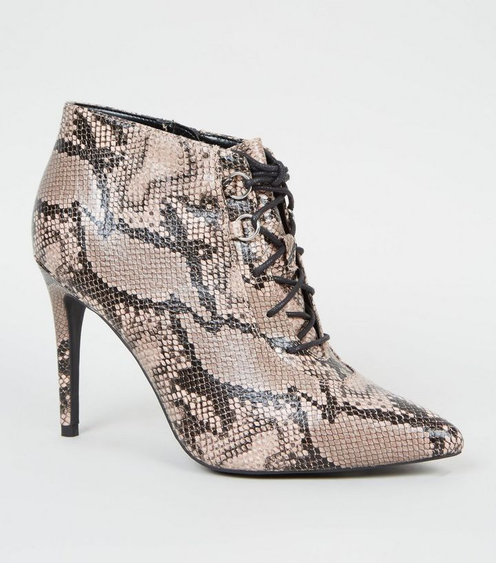 a73016becd5 Stone Faux Snake Lace Up Shoe Boots