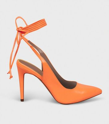 Bright Orange Neon Wrap Tie Heels