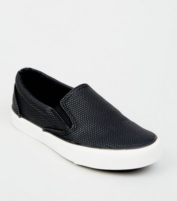 Girls Black Faux Snake Slip On Trainers