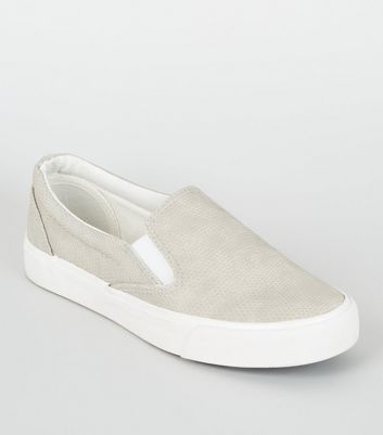 Girls – Graue Slip-on Sneaker mit Schlangenmuster