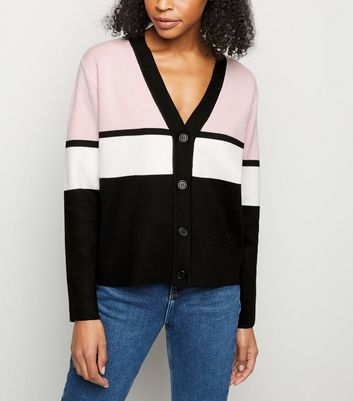 Pink Colour Block Boxy Cardigan