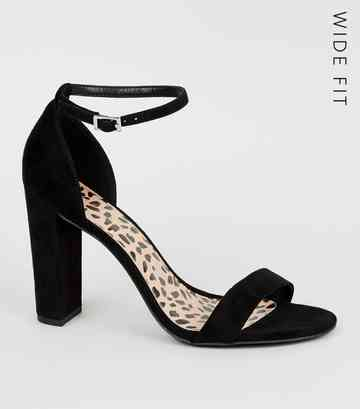 52f3e064fd86d Wide Fit Black Leopard Print Insole Block Heels ...