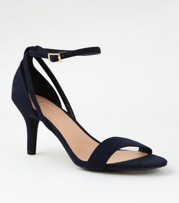 Wide Fit Navy Suedette 2 Part Heeled Sandals