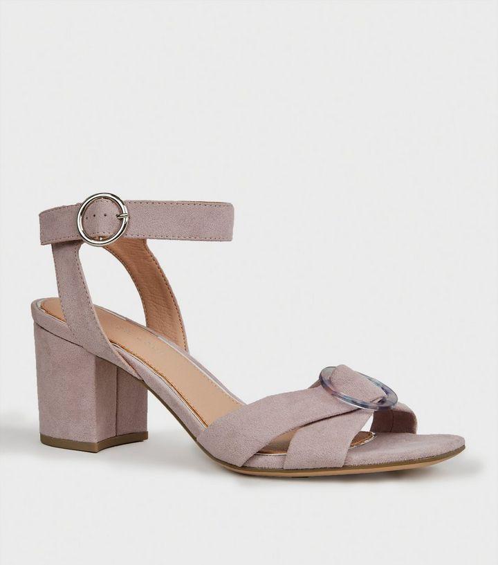 a449e9e0dfa Wide Fit Purple Resin Buckle Heeled Sandals