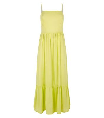 shop for Light Green Crinkle Tiered Hem Midaxi Dress New Look at Shopo
