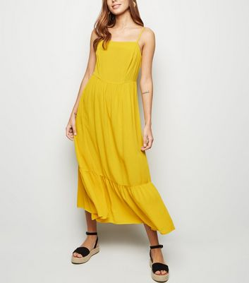 Yellow Crinkle Tiered Hem Midi Dress